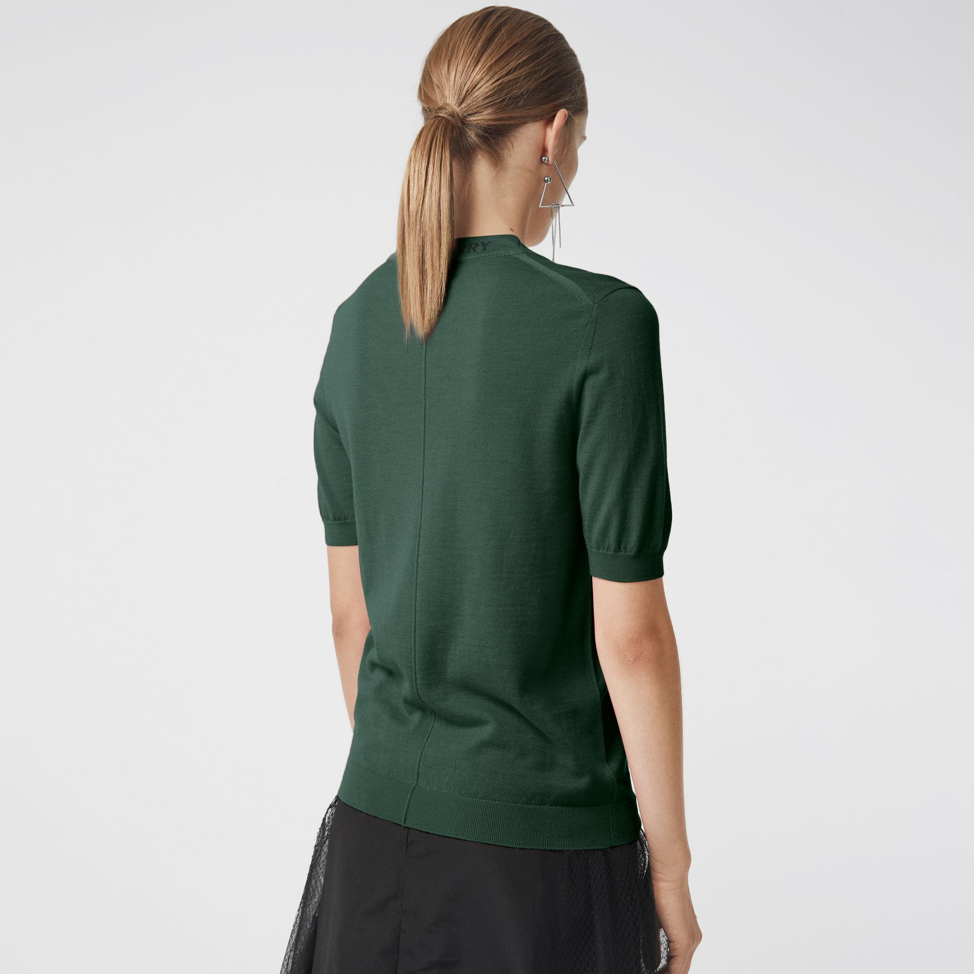 Crew Neck Merino Wool Sweater in Dark Forest Green - Women | Burberry - gallery image 2
