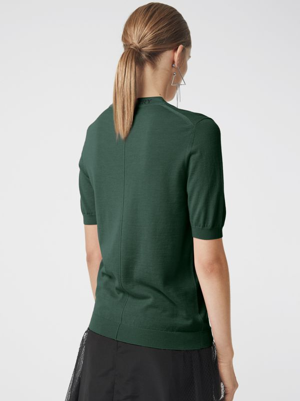 Crew Neck Merino Wool Sweater in Dark Forest Green - Women | Burberry - cell image 2