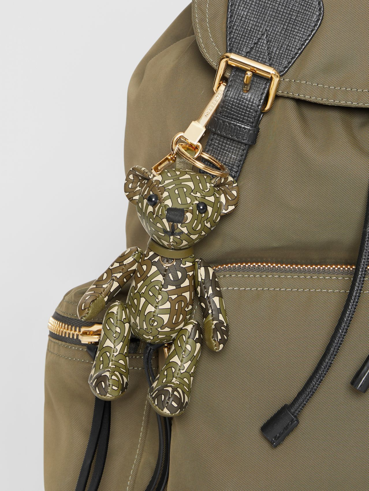 Thomas Bear Charm in Monogram Print Leather in Khaki Green