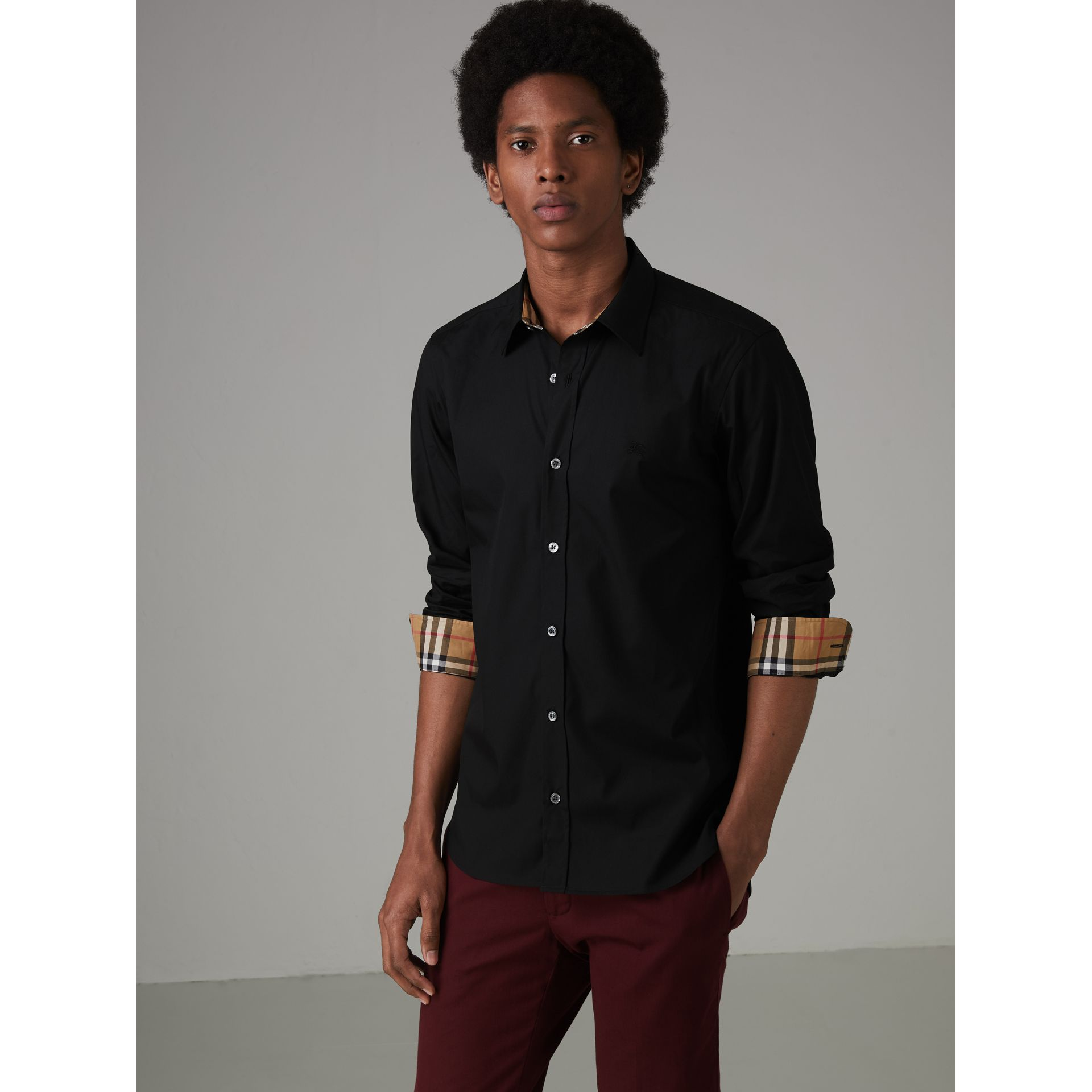 Check Cuff Stretch Cotton Poplin Shirt in Black - Men | Burberry - gallery image 5