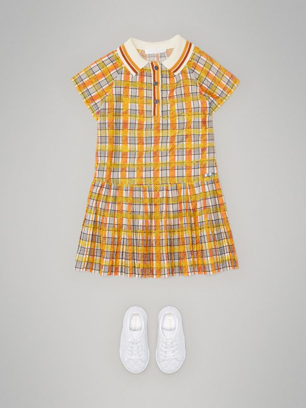 Scribble Check Collared Day Dress in Bright Yellow | Burberry United Kingdom - cell image 2