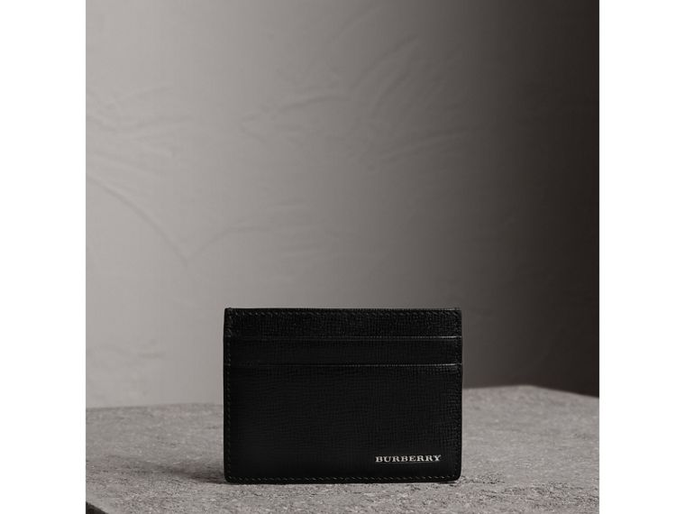 London Leather Card Case in Black | Burberry United States - cell image 1