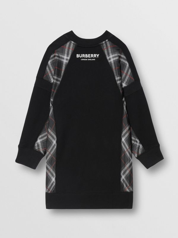 Vintage Check Panel Cotton Sweater Dress in Black | Burberry - cell image 3