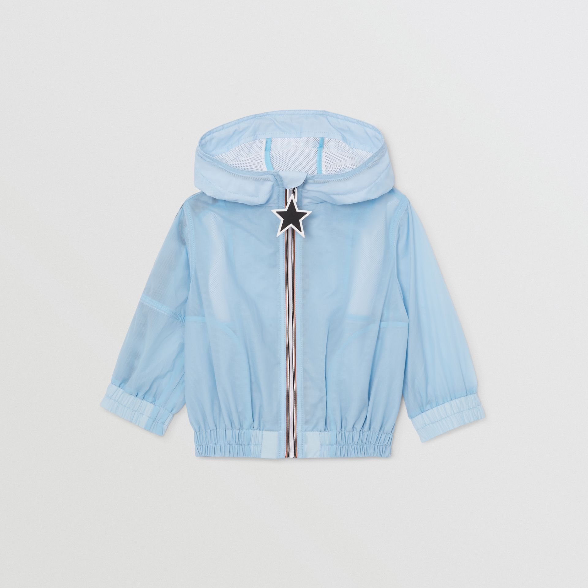 Star Detail Logo Print Lightweight Hooded Jacket in Light Blue - Children | Burberry United Kingdom - gallery image 0