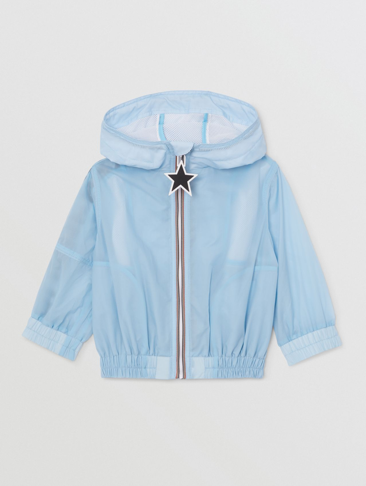 Star Detail Logo Print Lightweight Hooded Jacket in Light Blue