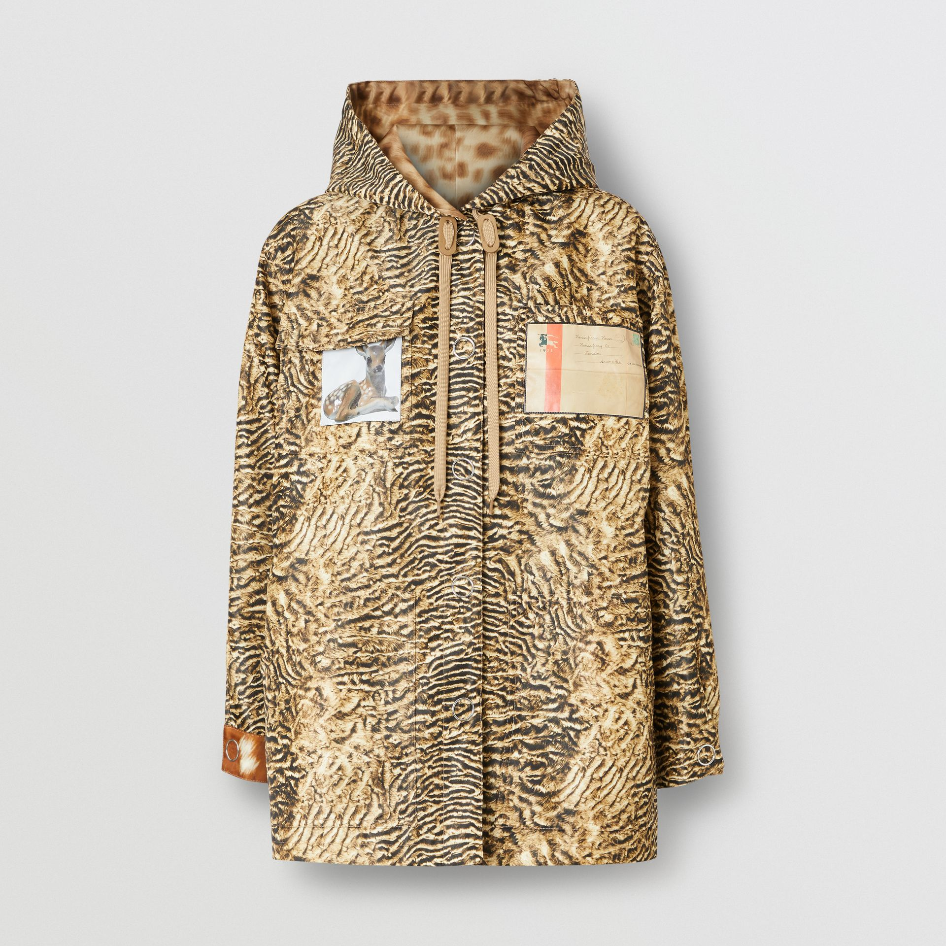 Tiger Print Lightweight Hooded Jacket in Beige - Women | Burberry - gallery image 3