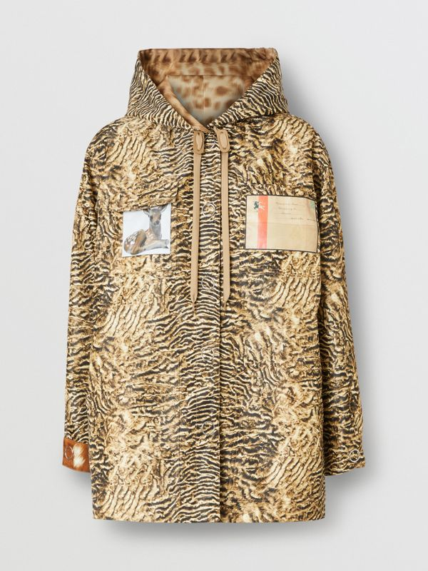 Tiger Print Lightweight Hooded Jacket in Beige - Women | Burberry United Kingdom - cell image 3