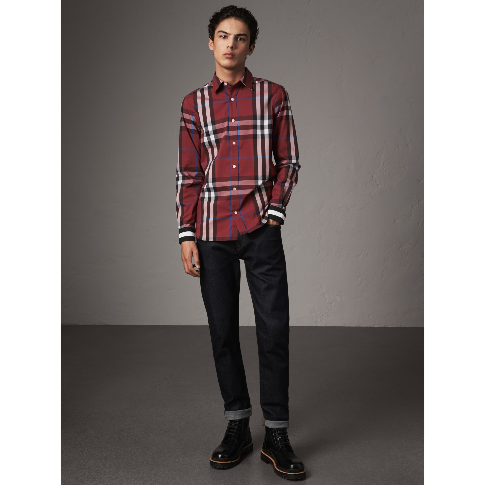 Striped Cuff Check Cotton Blend Shirt in Crimson Red - Men | Burberry - gallery image 4