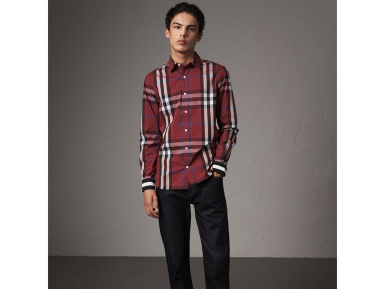 Striped Cuff Check Cotton Blend Shirt in Crimson Red - Men | Burberry Australia - cell image 4