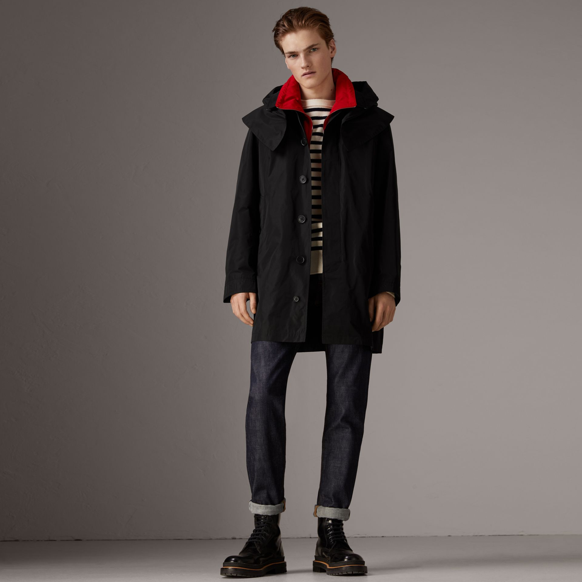 Taffeta Coat with Detachable Hood and Gilet in Black - Men | Burberry United States - gallery image 0