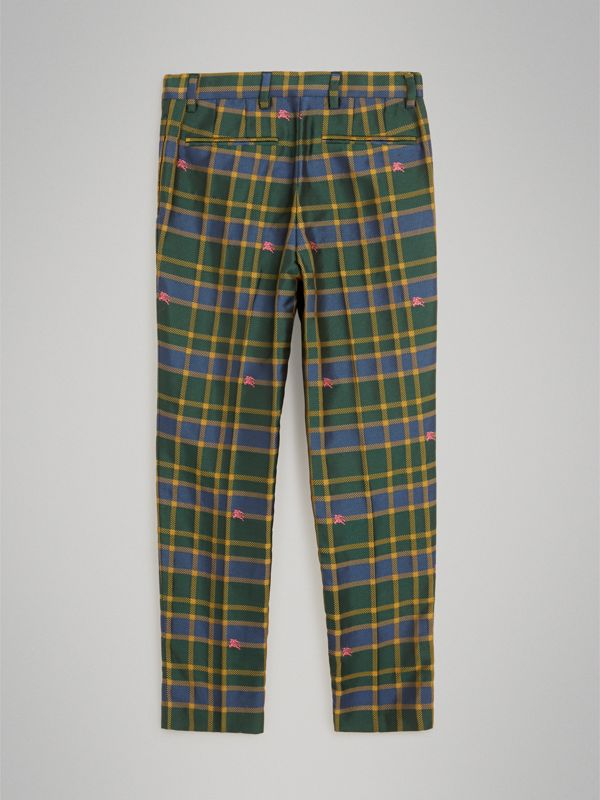 Equestrian Knight Check Tuxedo Trousers in Dark Navy/green | Burberry - cell image 3