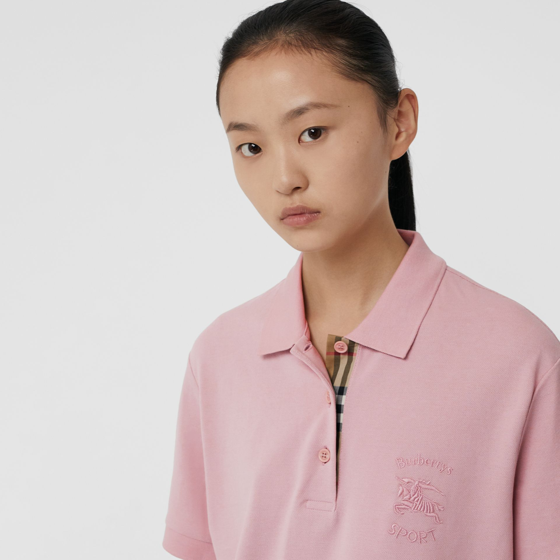 Check Placket Cotton Piqué Polo Shirt in Chalk Pink - Women | Burberry United States - gallery image 1