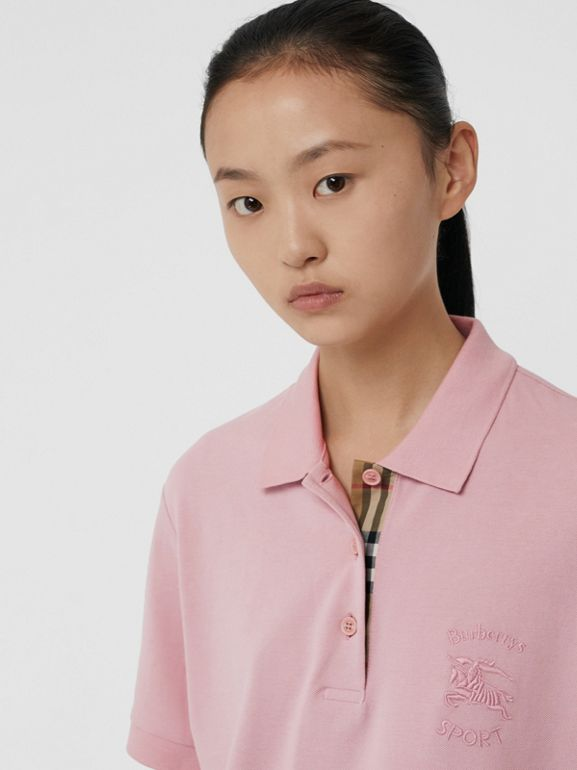 Check Placket Cotton Piqué Polo Shirt in Chalk Pink - Women | Burberry - cell image 1