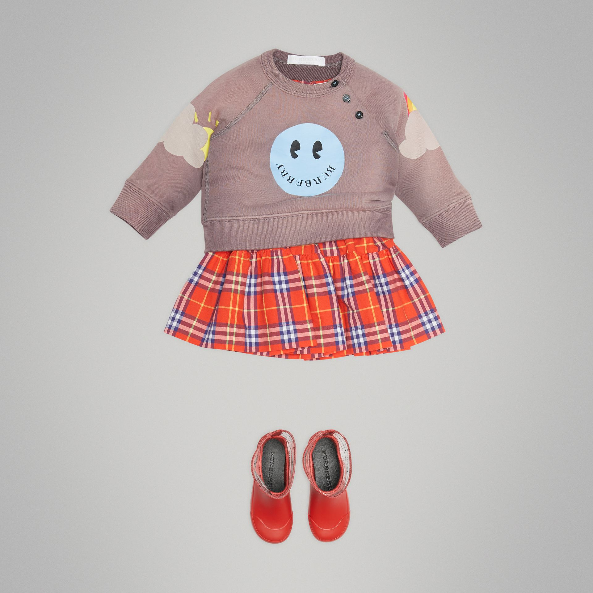 Smiley Face Print Cotton Sweatshirt in Mauve - Children | Burberry United Kingdom - gallery image 2
