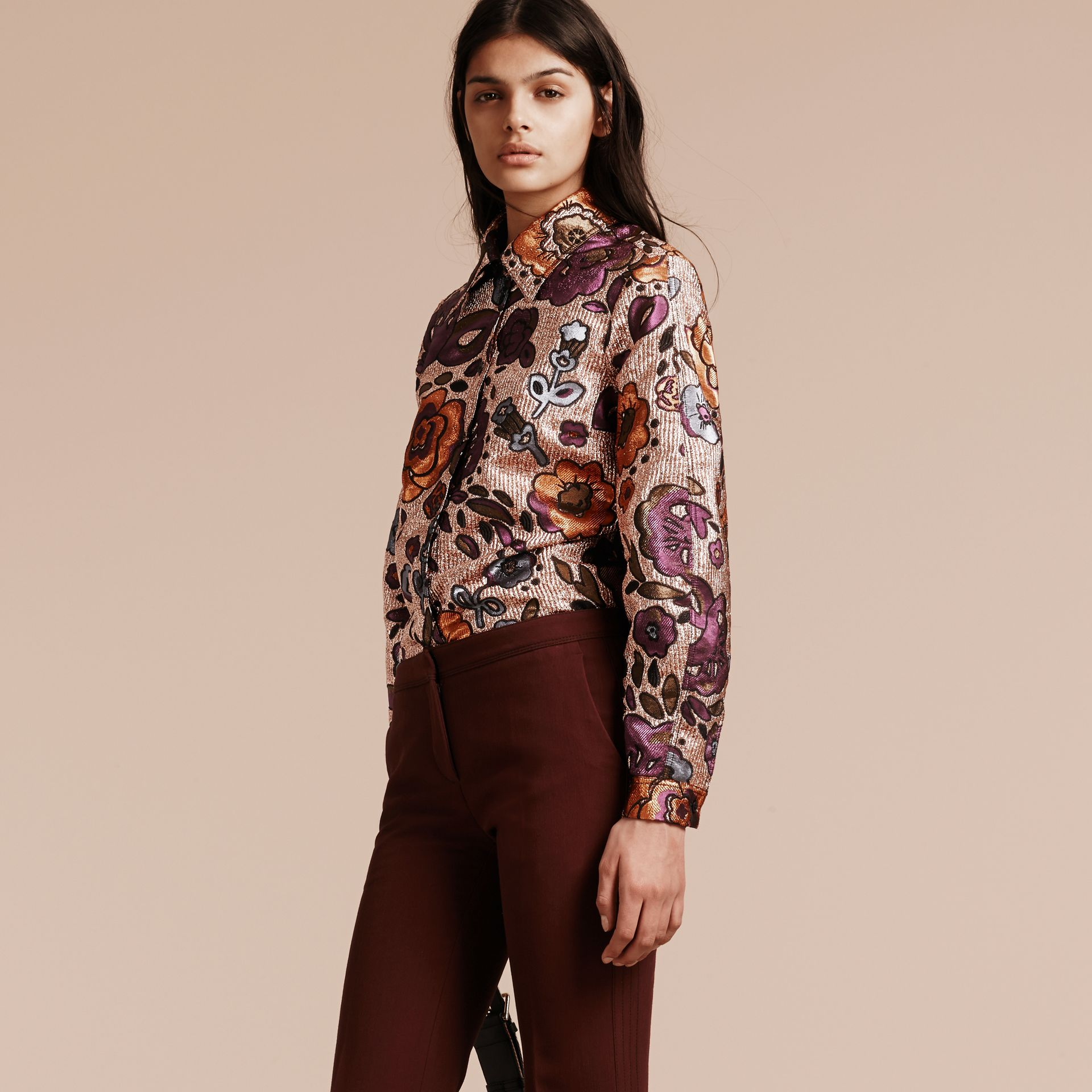 Copper rose Lamé and Floral Jacquard Sculptured Sleeve Shirt - gallery image 7