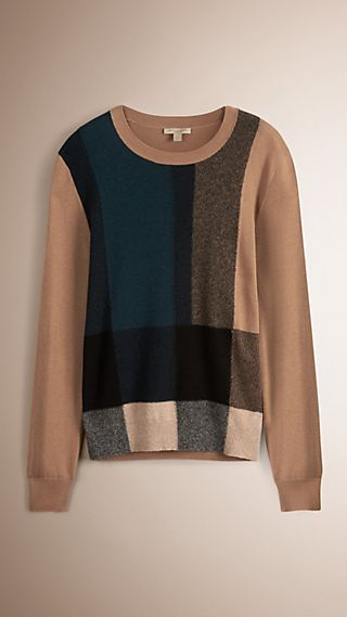 Check Cotton Cashmere Sweater