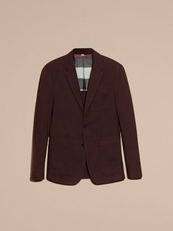 Deep claret Patch Pocket Cotton Wool Blend Tailored Jacket - cell image 3