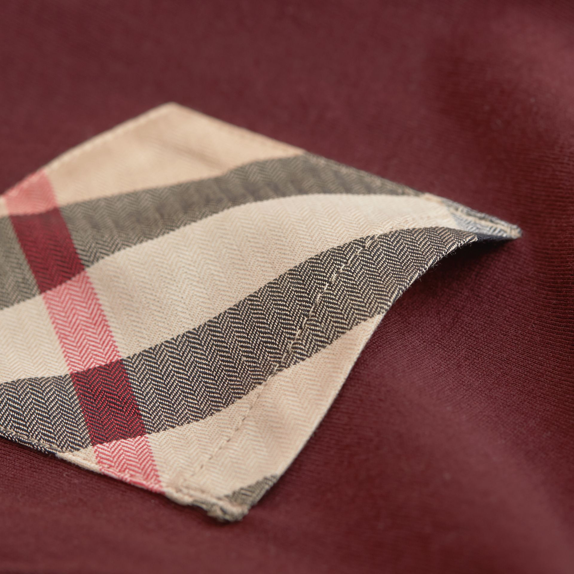 Check Pocket Cotton T-shirt in Oxblood - Boy | Burberry - gallery image 2