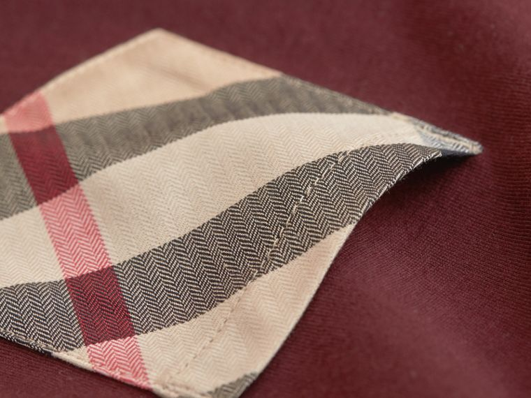 Check Pocket Cotton T-shirt in Oxblood - Boy | Burberry - cell image 1