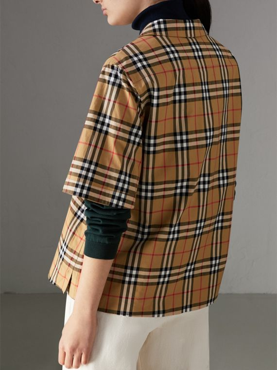 Short-sleeve Vintage Check Shirt in Antique Yellow - Women | Burberry Hong Kong - cell image 2