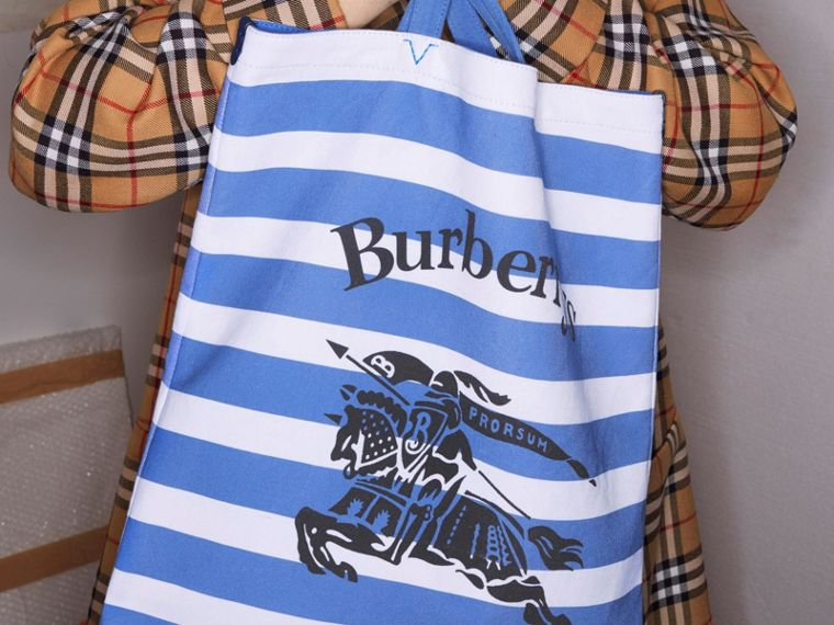 Large Archive Logo Striped Jersey Shopper in Sky Blue/white | Burberry - cell image 4