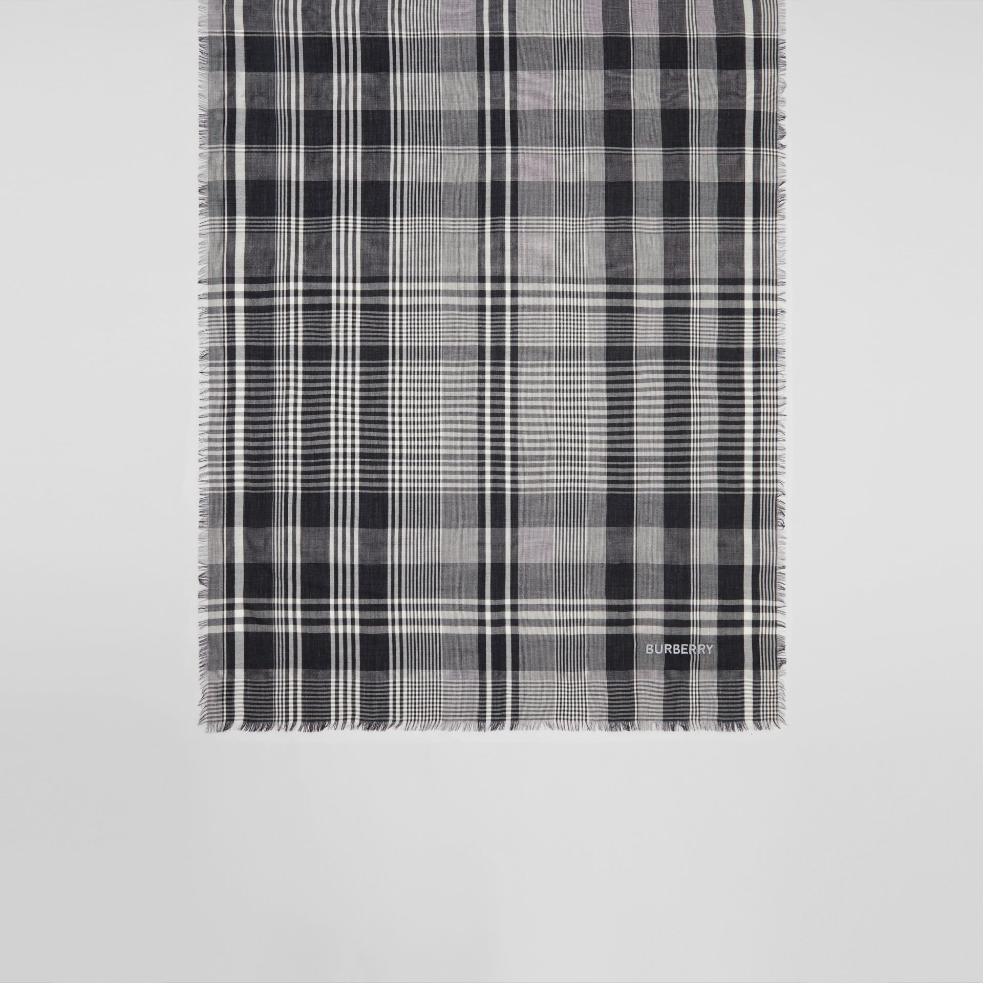 Logo Embroidered Lightweight Check Cashmere Scarf in Black/white | Burberry - gallery image 4