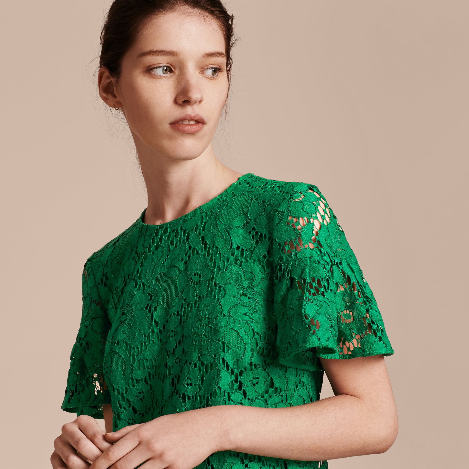 Macramé Lace Short Shift Dress with Ruffle Sleeves Kelly Green - gallery image 5