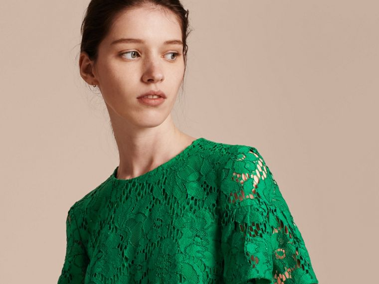 Macramé Lace Short Shift Dress with Ruffle Sleeves Kelly Green - cell image 4