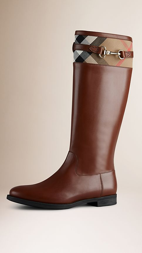 Dark tan House Check Detail Riding Boots - Image 1