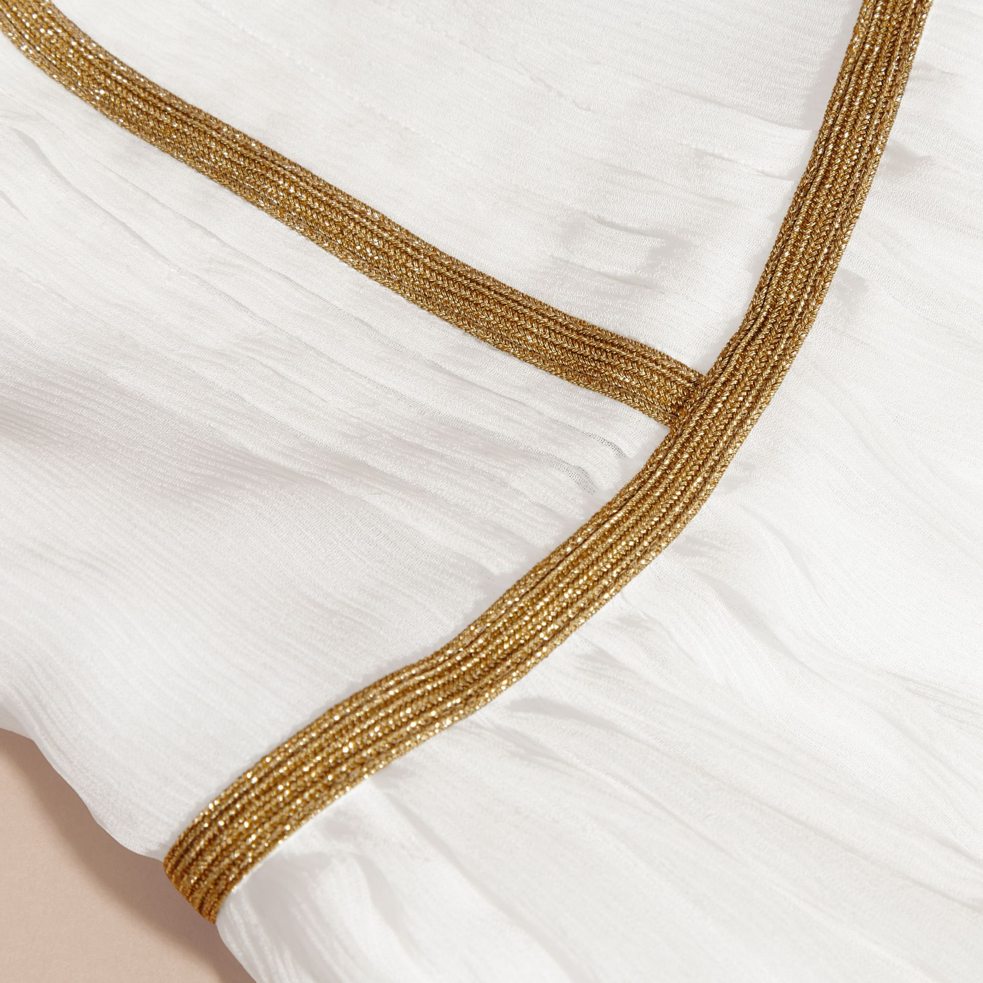 White Silk Gathered Detail Dress - gallery image 2