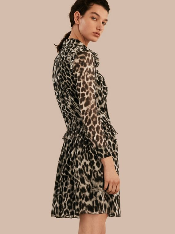 Ruffle Detail Animal Print Silk Dress