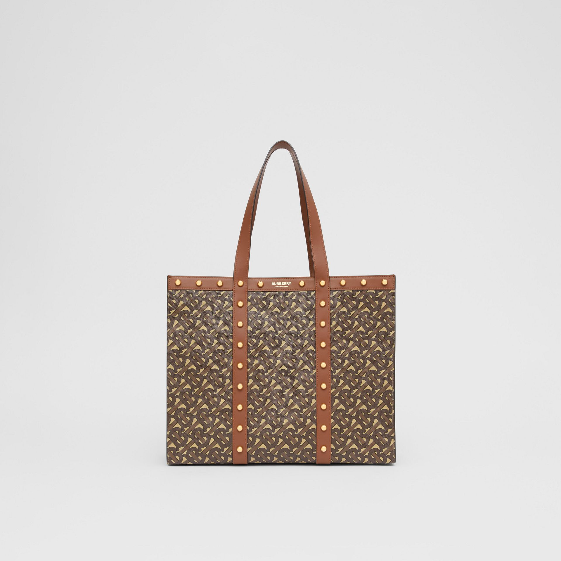 Small Monogram Print E-canvas Tote Bag in Tan | Burberry Hong Kong S.A.R - gallery image 0