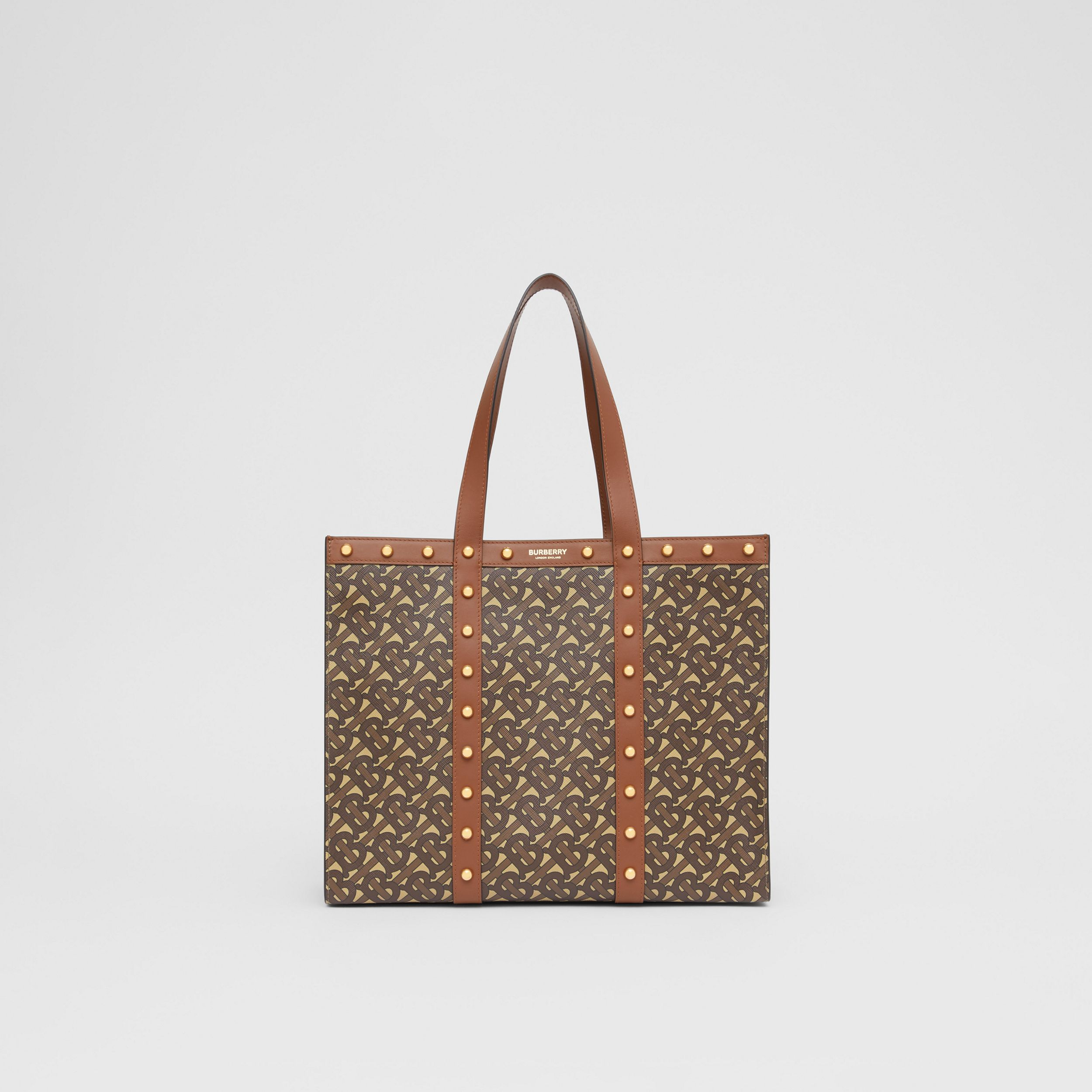 Small Monogram Print E-canvas Tote Bag in Tan | Burberry - 1