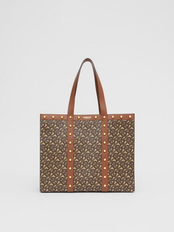 Small Monogram Print E-canvas Tote Bag in Tan