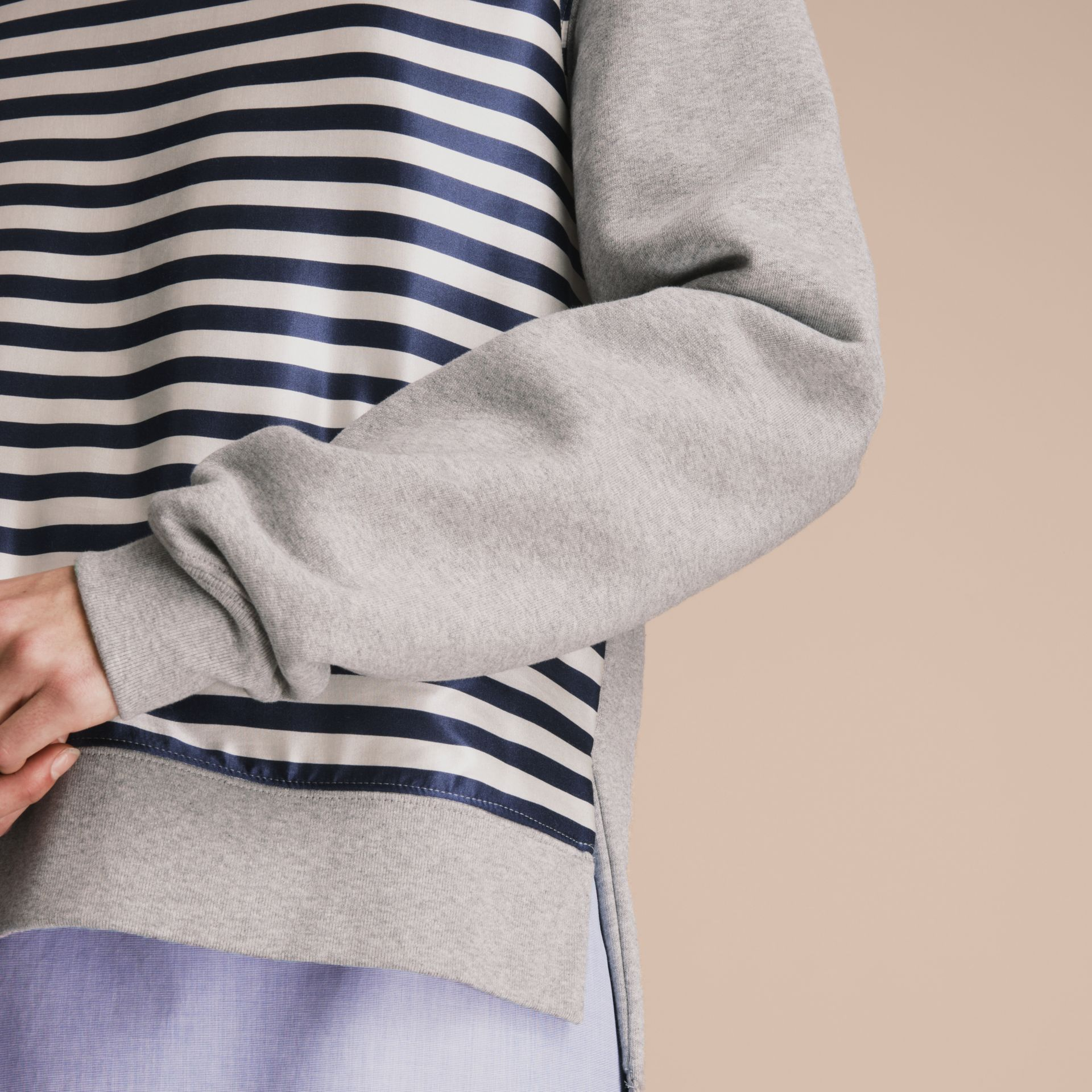 Unisex Striped Silk Cotton Panel Sweatshirt - Women | Burberry - gallery image 6