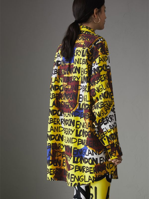Graffiti Print Stretch-cotton Shirt in Bright Yellow - Women | Burberry - cell image 2