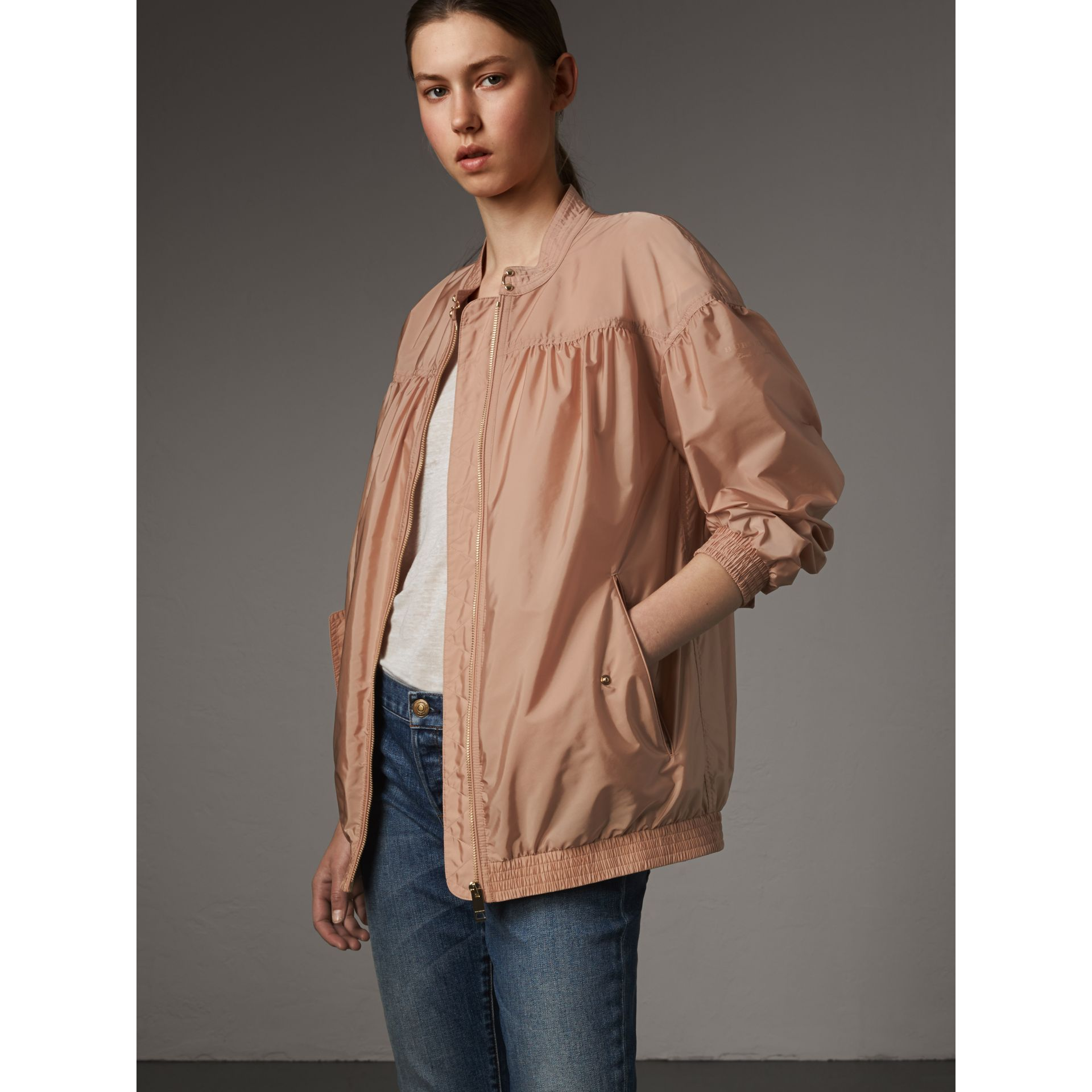 Ruched Showerproof Jacket in Ivory Pink - gallery image 5