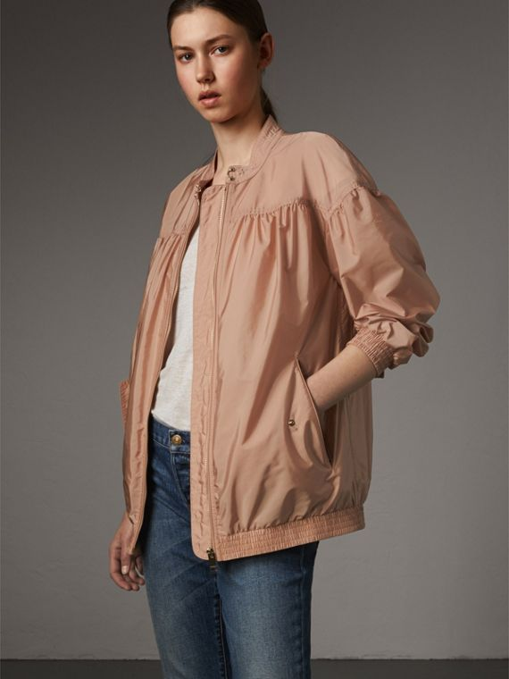 Ruched Showerproof Jacket in Ivory Pink