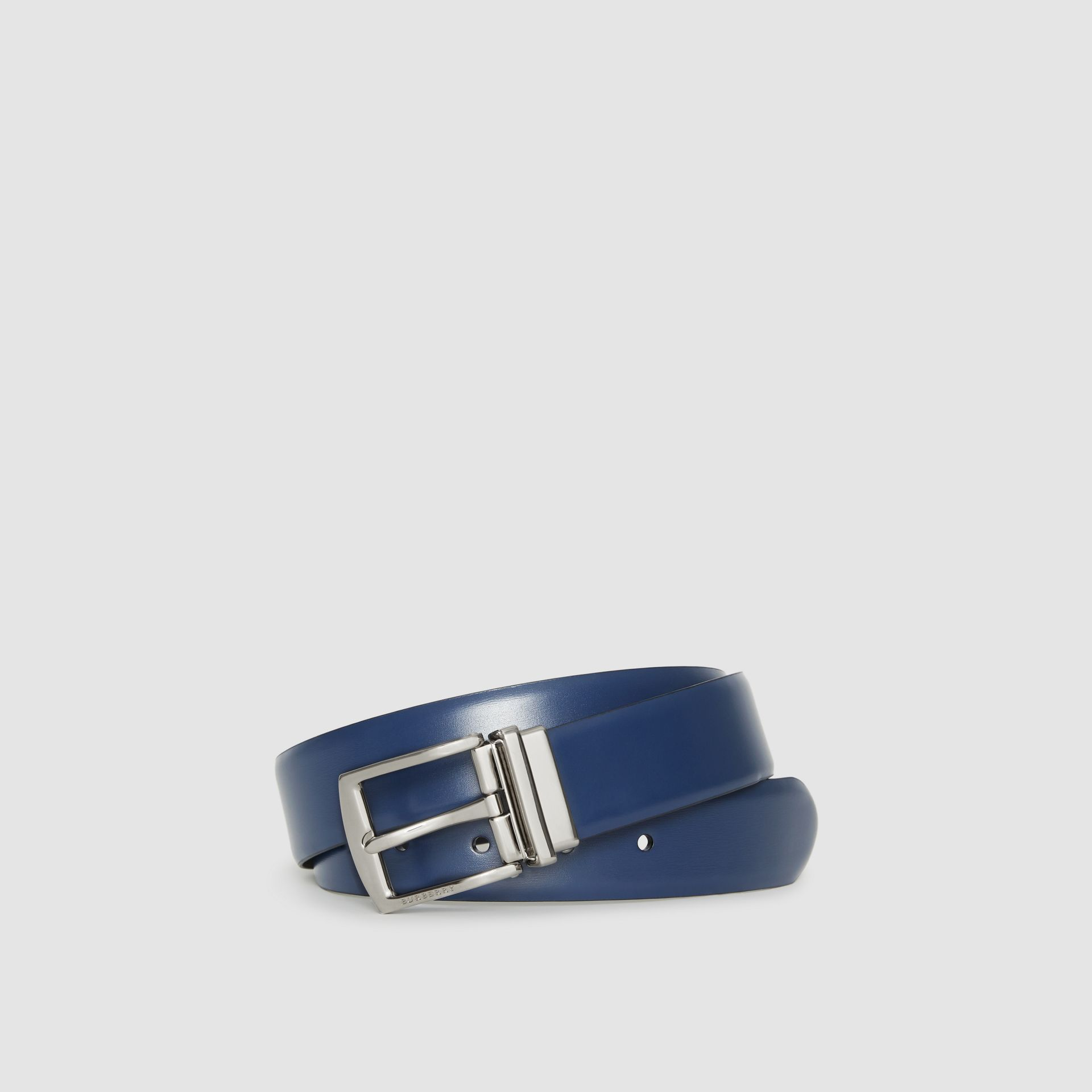 Reversible Leather Belt in Navy/black - Men | Burberry - gallery image 0