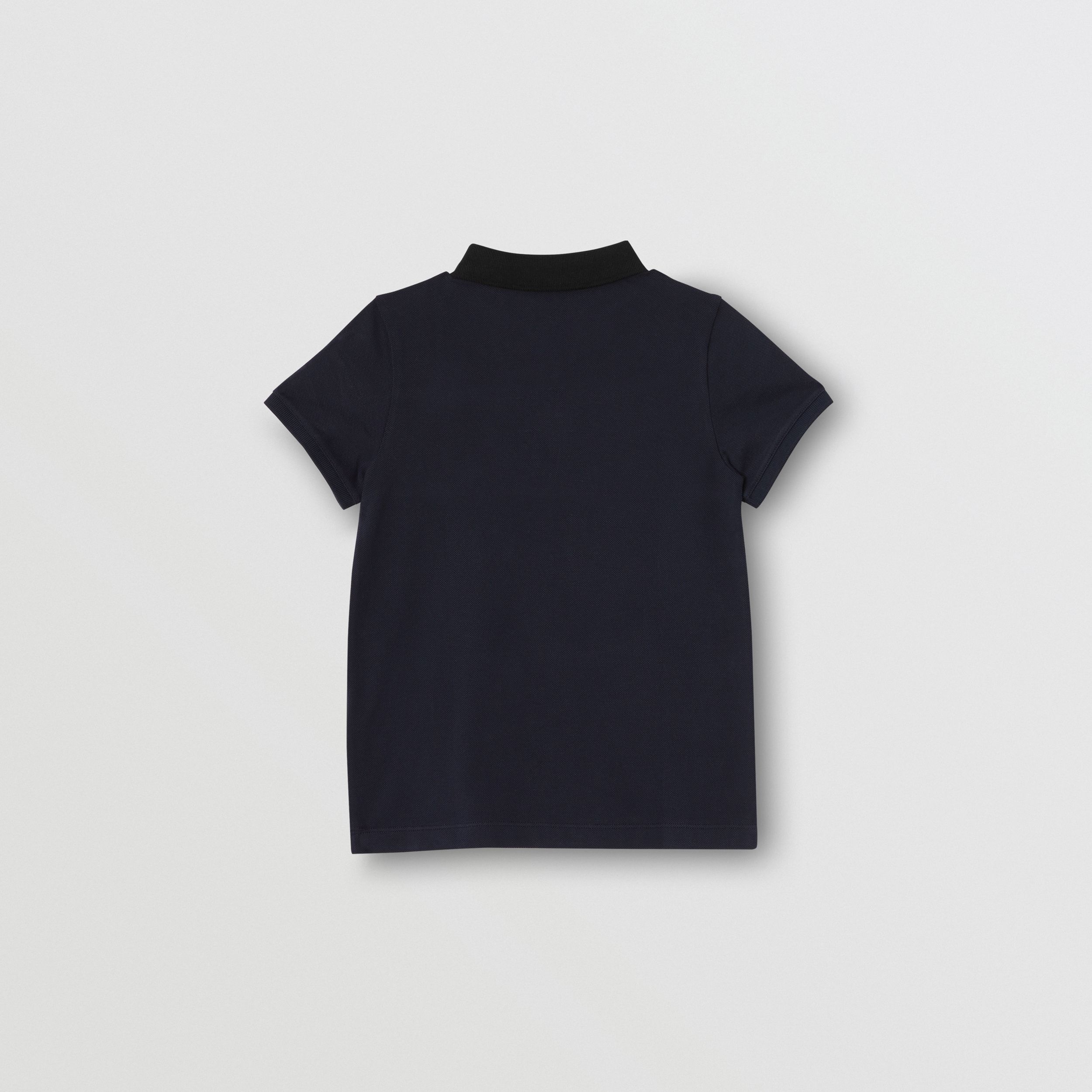 Polo in cotone con inserto Vintage check (Navy) | Burberry - 4