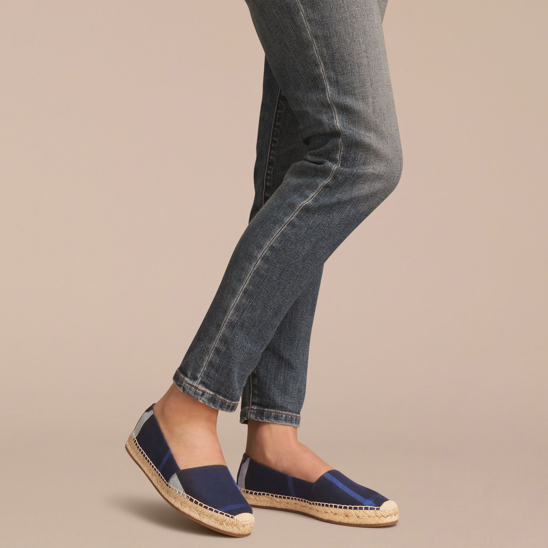 Check Cotton Espadrilles in Indigo Blue - Women | Burberry - gallery image 3