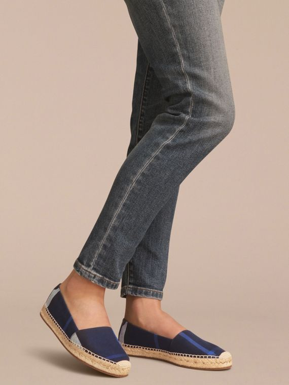 Check Cotton Espadrilles in Indigo Blue - Women | Burberry - cell image 2