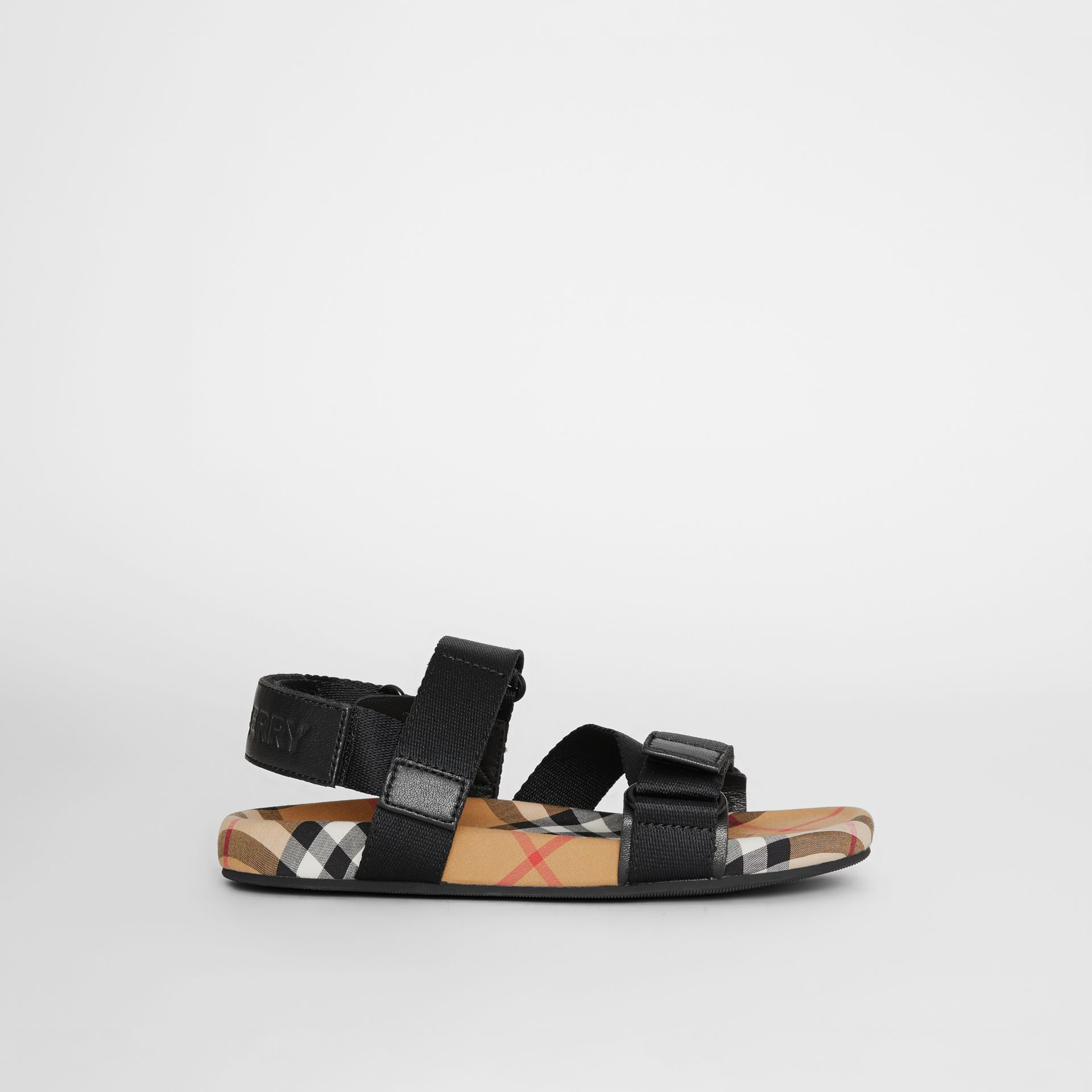 Ripstop Strap Vintage Check Cotton Sandals in Black/antique Yellow - Children | Burberry United Kingdom - gallery image 3