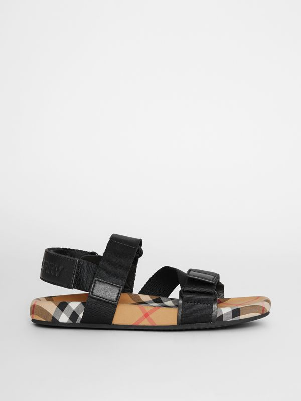Ripstop Strap Vintage Check Cotton Sandals in Black/antique Yellow - Children | Burberry Australia - cell image 3