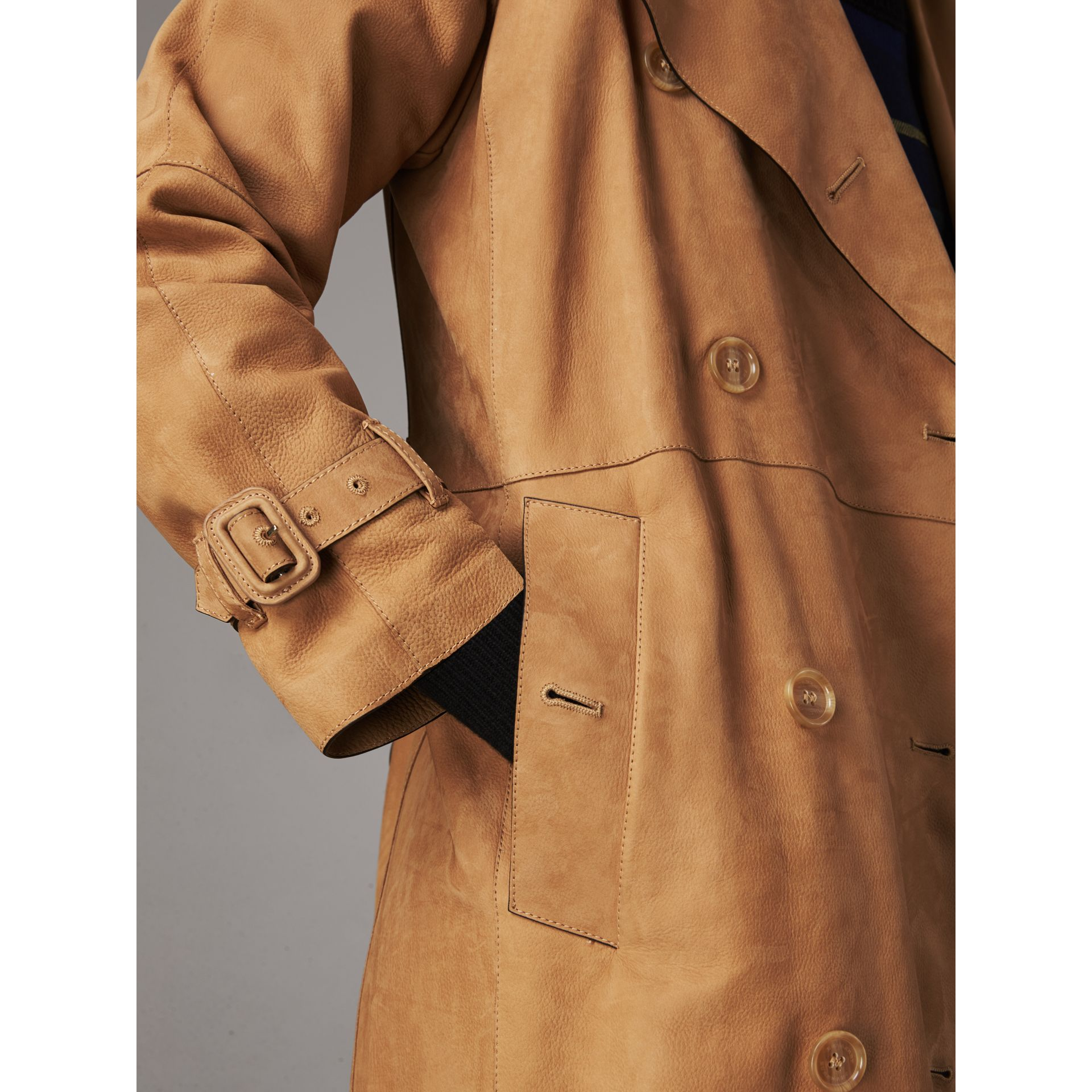 Nubuck Trench Coat in Caramel - Women | Burberry - gallery image 5