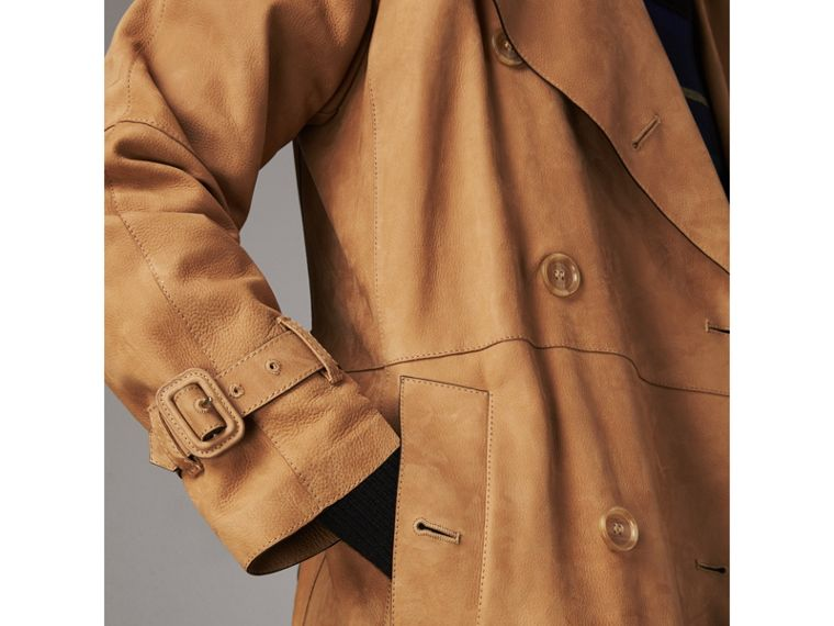 Nubuck Trench Coat in Caramel - Women | Burberry - cell image 4