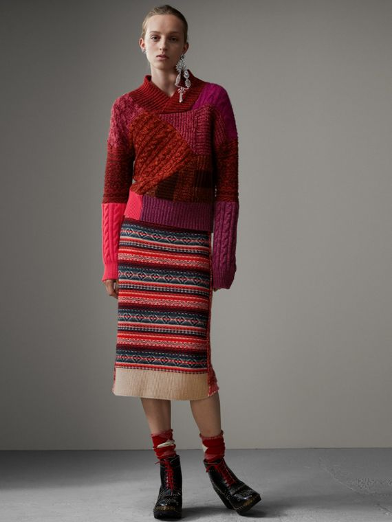 Cashmere Wool Patchwork Sweater in Berry Red