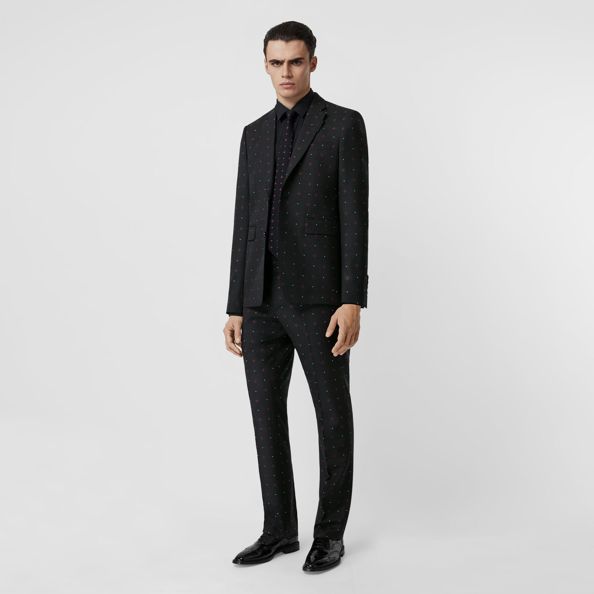 English Fit Fil Coupé Wool Cotton Tailored Jacket in Black - Men | Burberry - gallery image 0