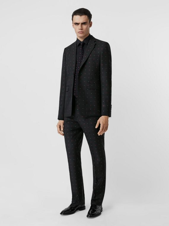 English Fit Fil Coupé Wool Cotton Tailored Jacket in Black