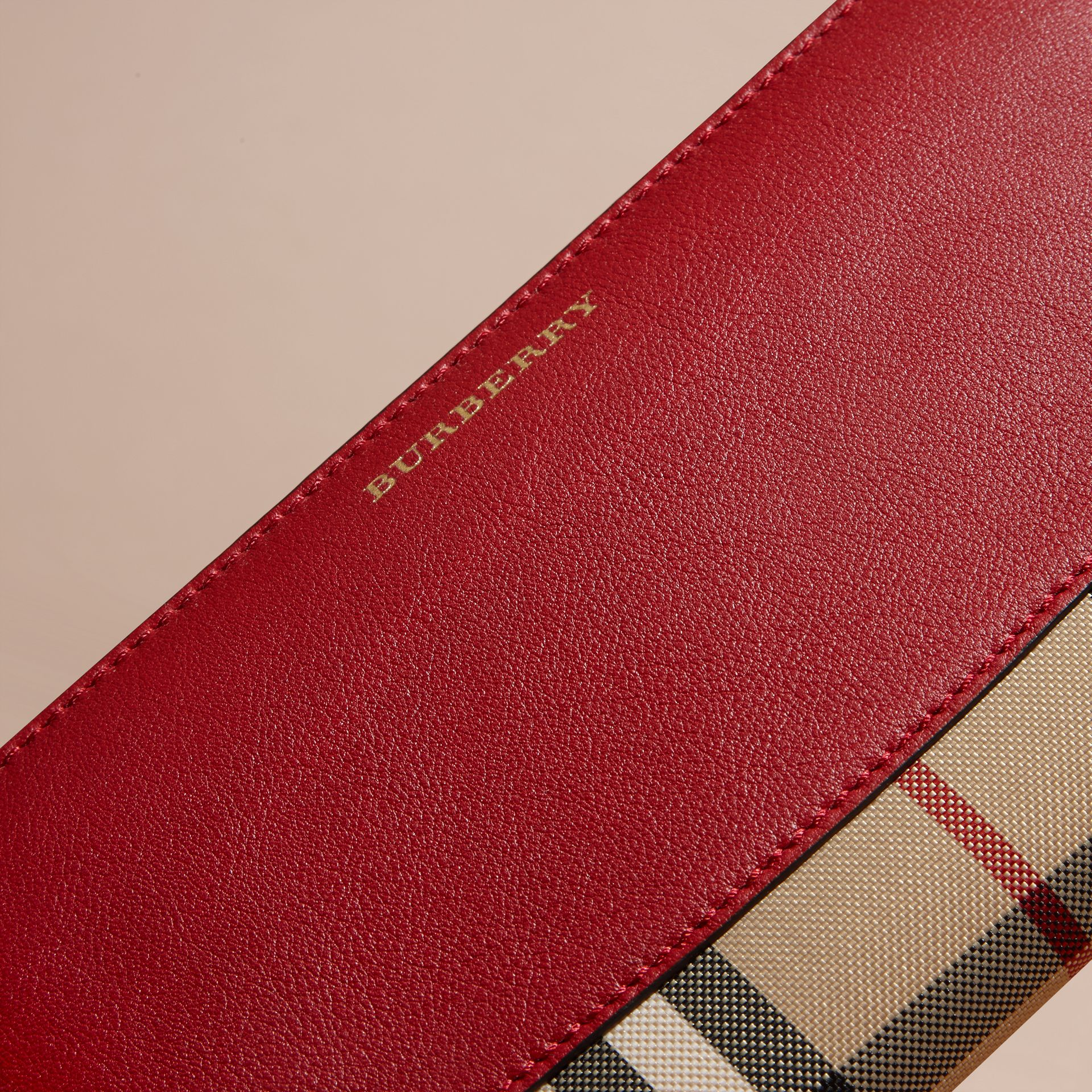 Horseferry Check and Leather Ziparound Wallet in Parade Red - Women | Burberry Canada - gallery image 2